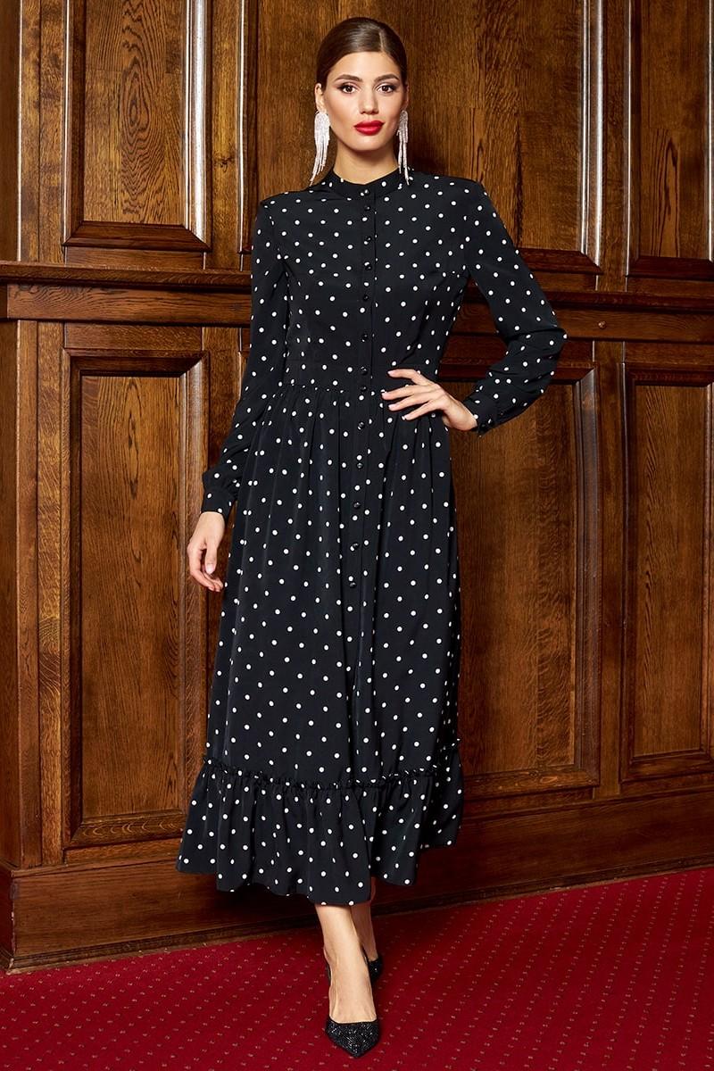 Платье Айзе 2307  черно-белый
