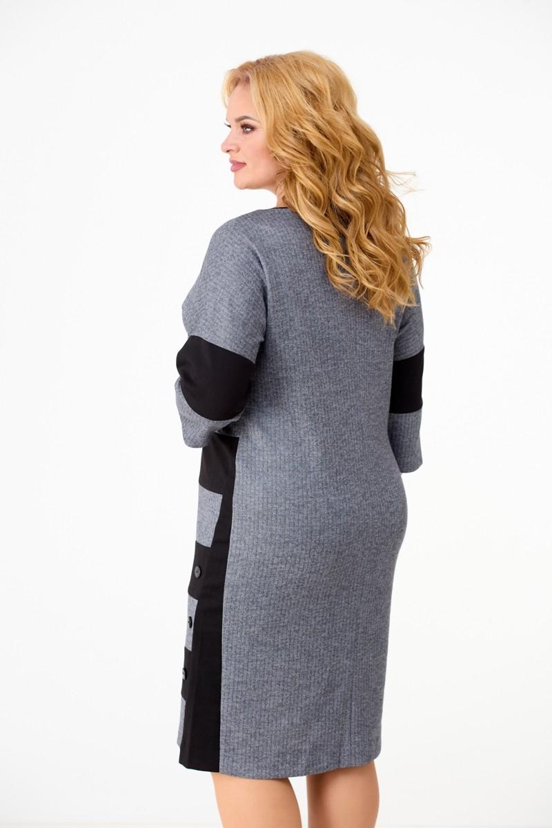 Платье Anelli 945 серо-черный