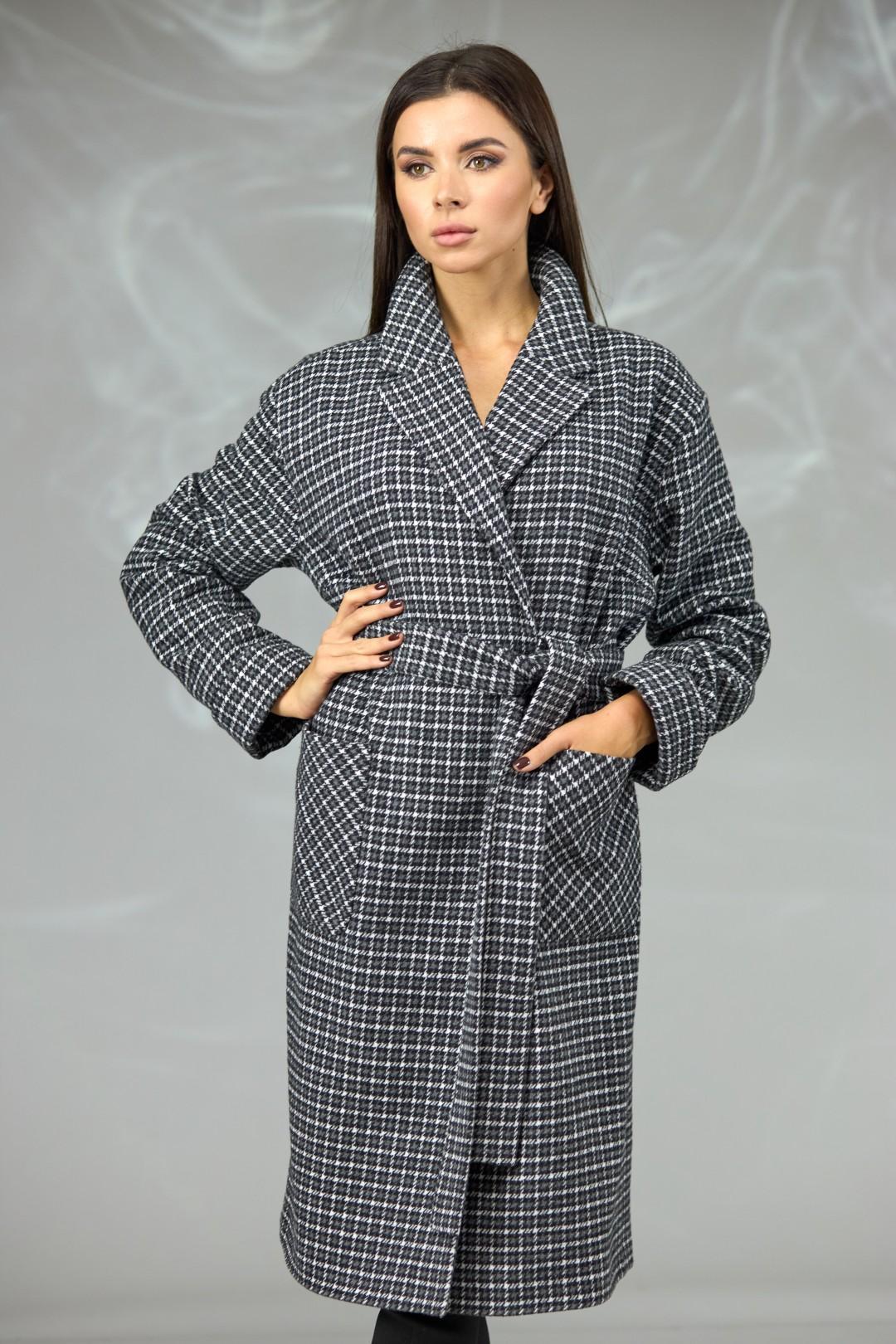 Пальто Angelina & Company 605 ч/б клетка