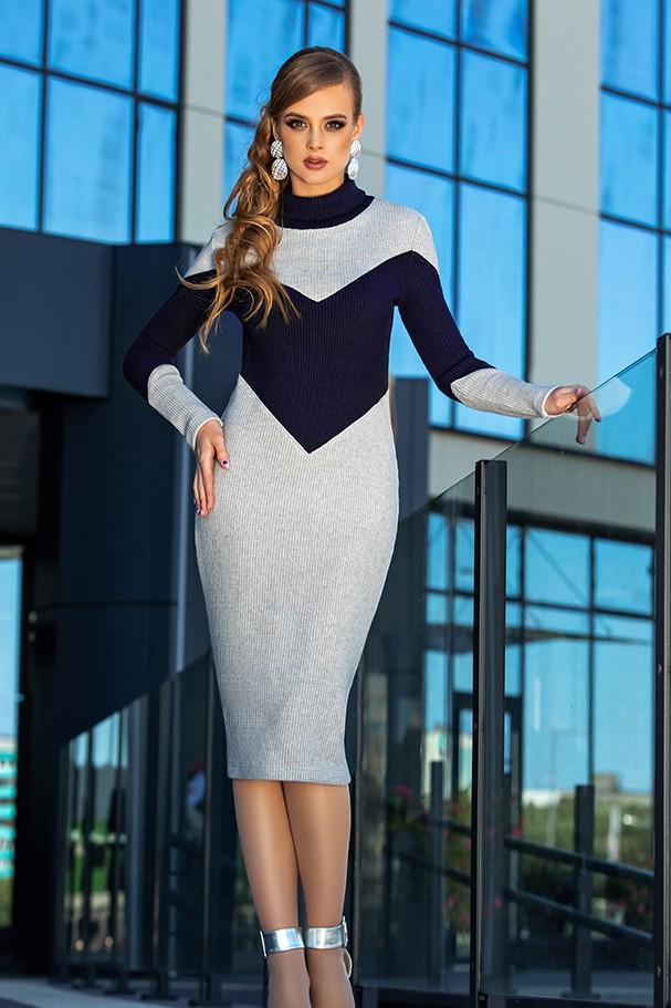 Платье Дива 1341-1 серый+синий