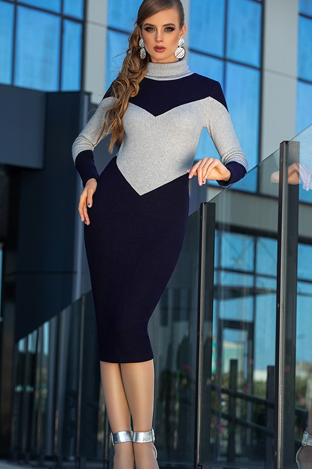 Платье Дива 1341 синий+серый