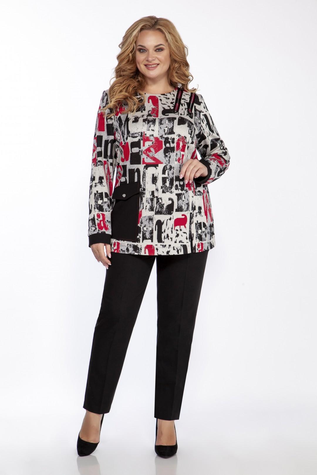 Блуза EMILIA STYLE 2098 серый принт