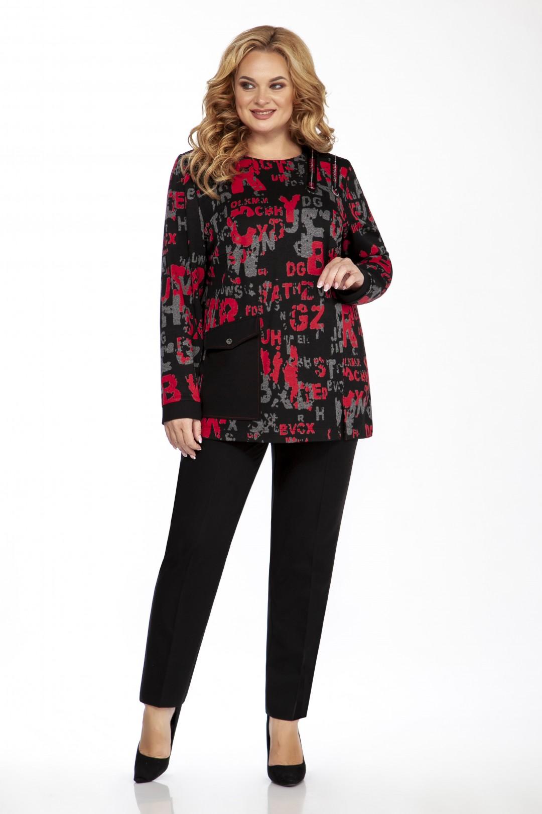 Блуза EMILIA STYLE 2098.1 красно-черный принт
