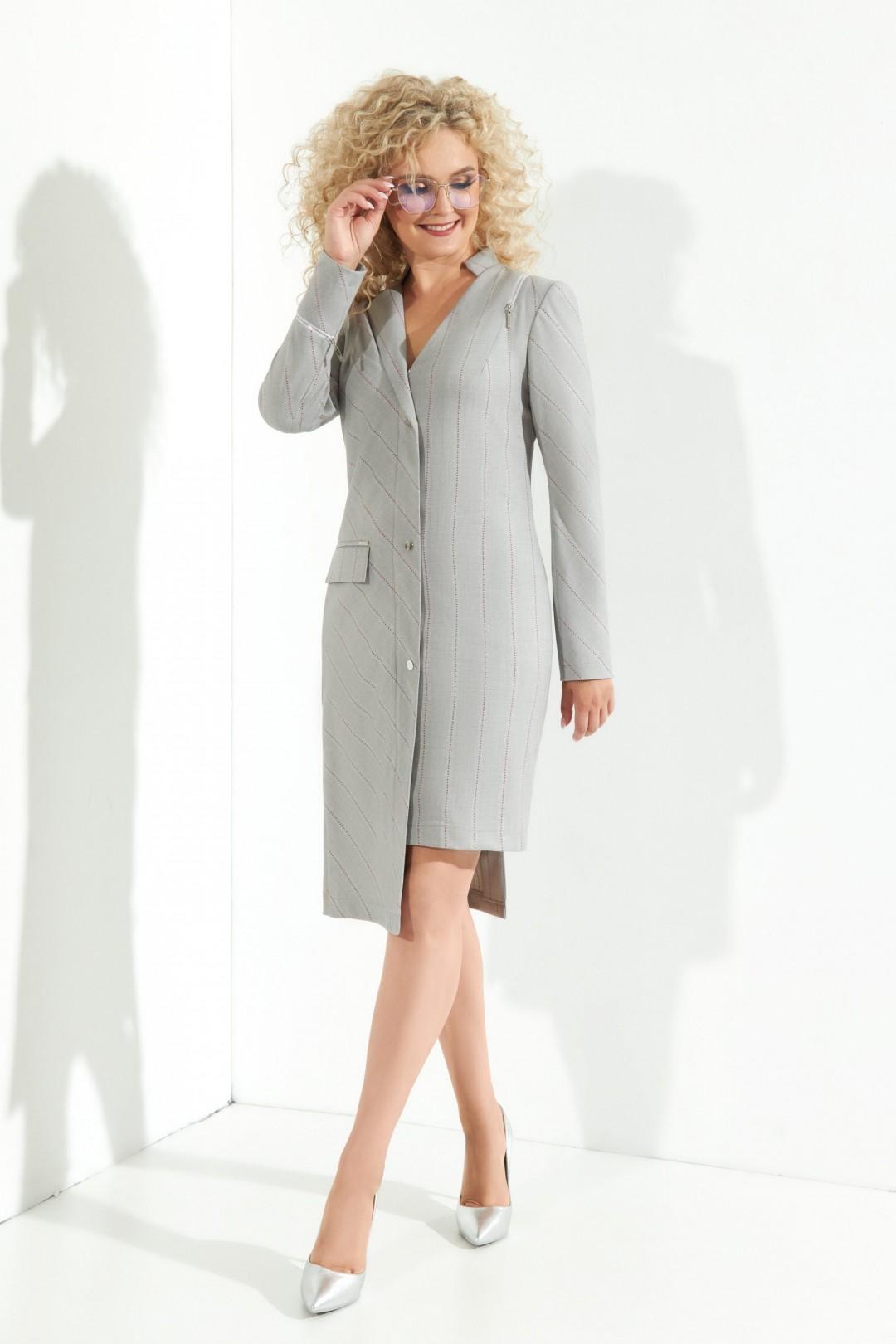 Платье ЕвроМода 373 серый+ роз. полоса+ люрекс