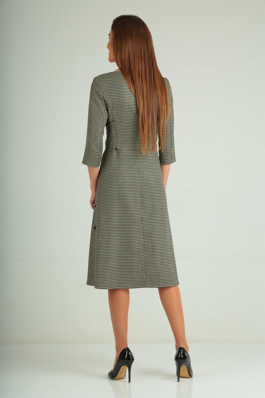 Платье Карина Делюкс В-170 черно-оливковый