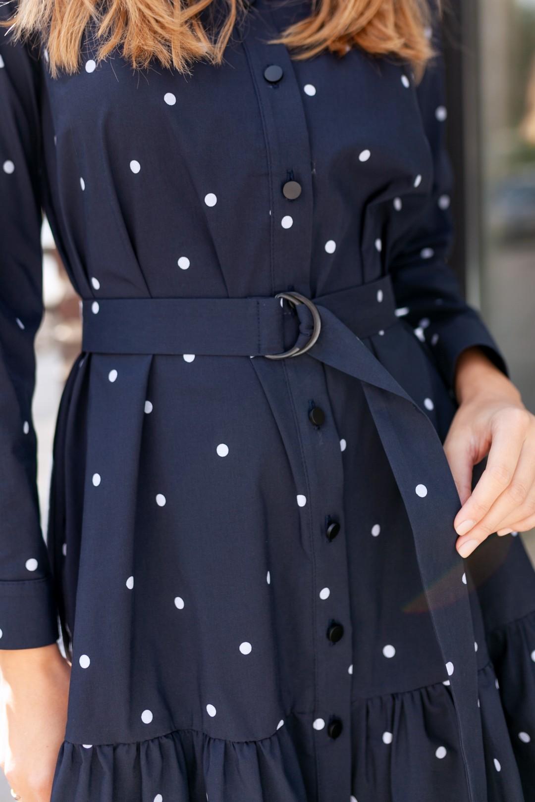 Платье KRASA 277-21 синее в горох