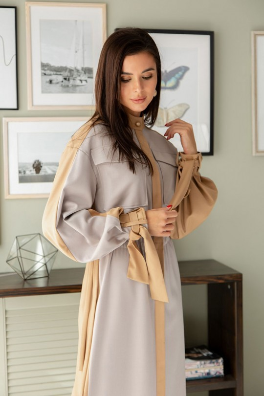 Платье ЛадисЛайн 1390 серый+ бежевый