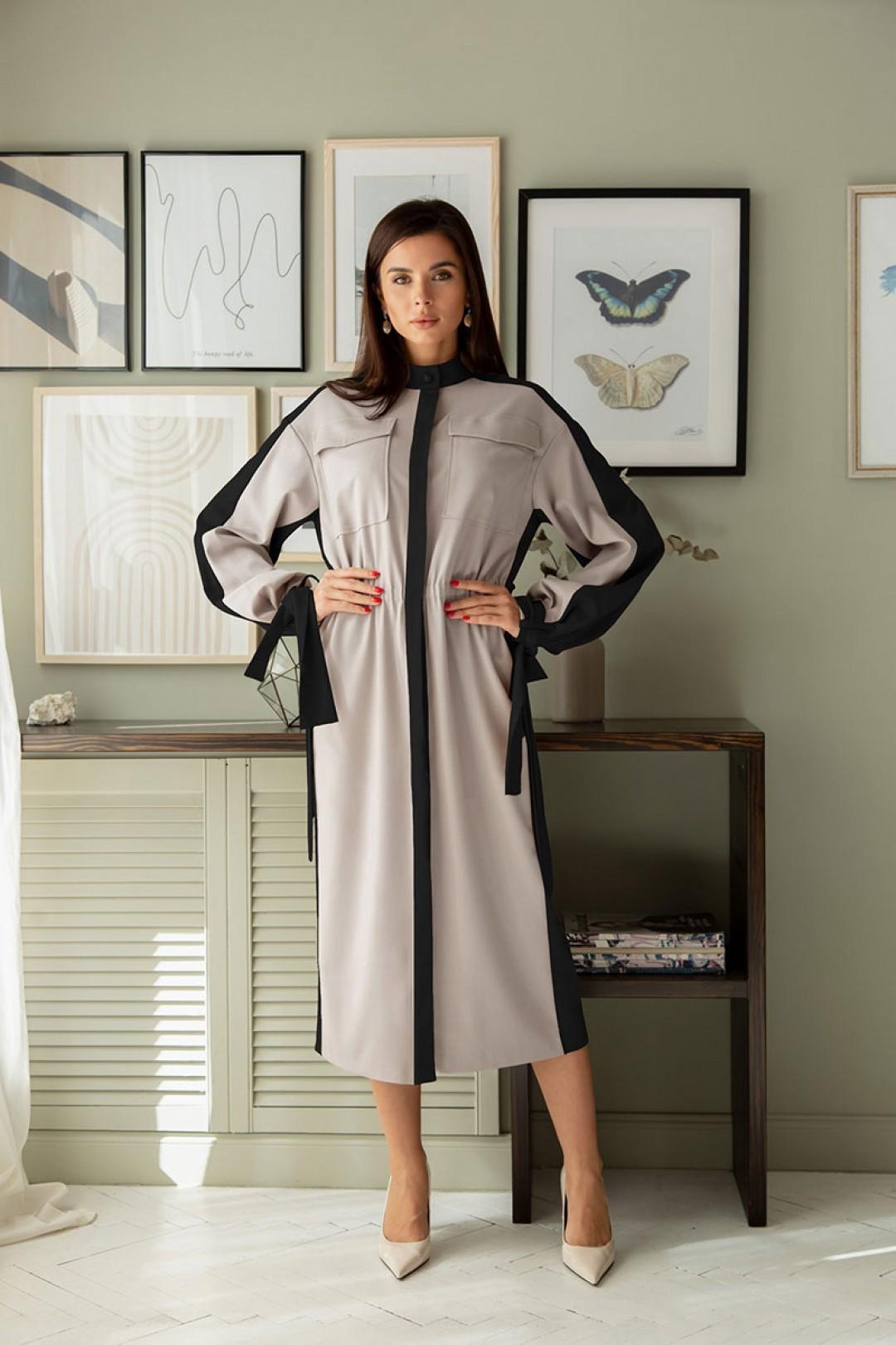 Платье ЛадисЛайн 1390 серый+ черный