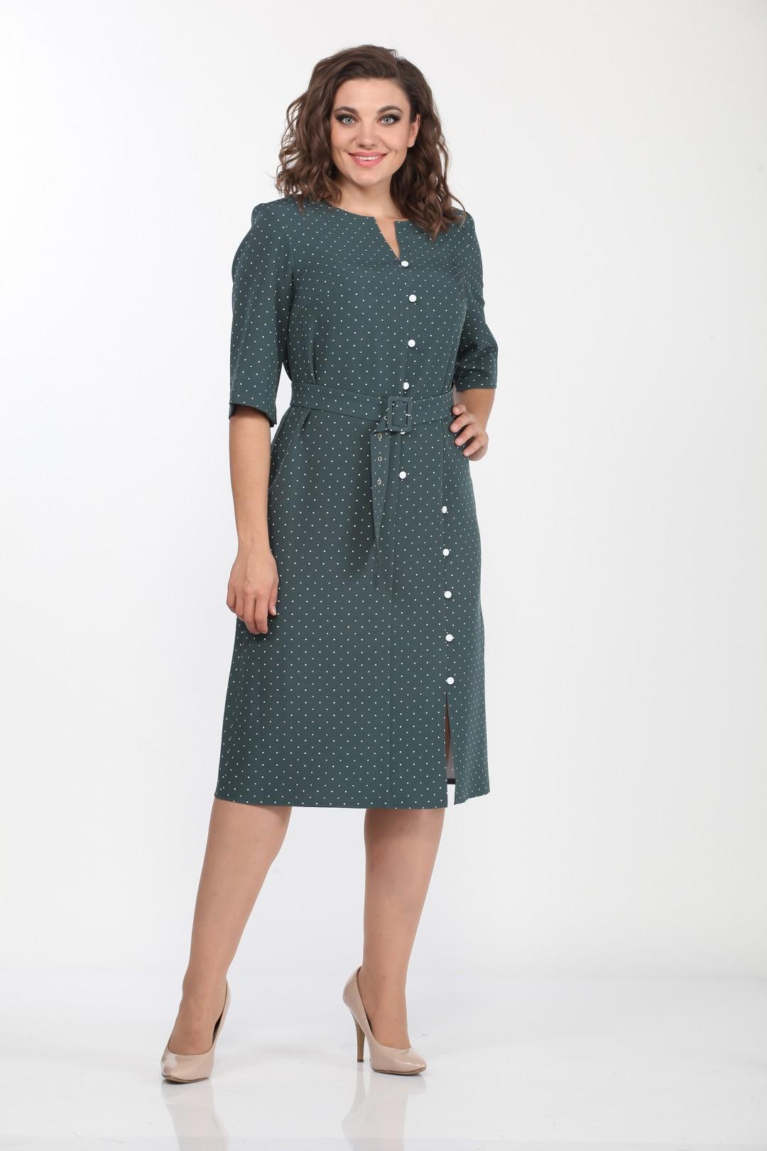 Платье LadyStyleClassic 2119-7 бирюзовый горошек