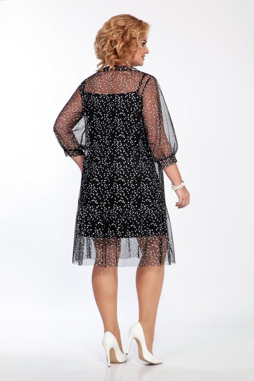 Платье LaKona 1402 черно-белый в горох