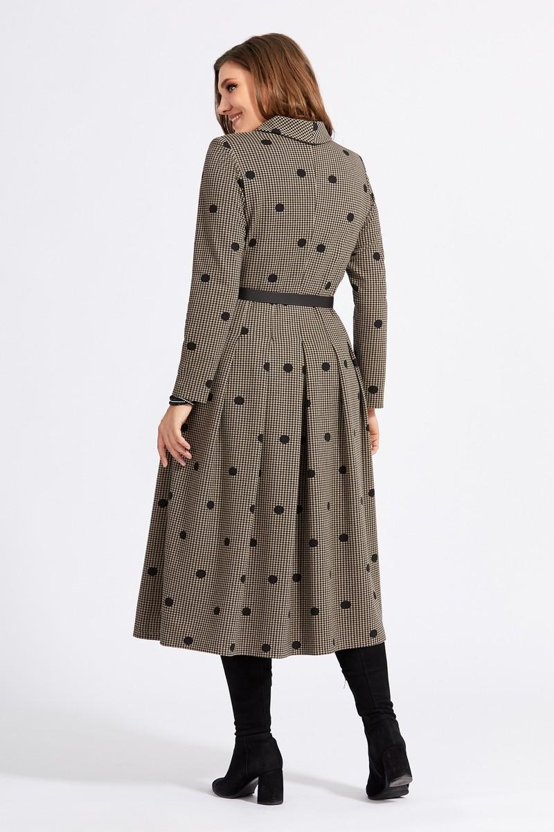 Платье Милора Стиль 940 коричневое в горох