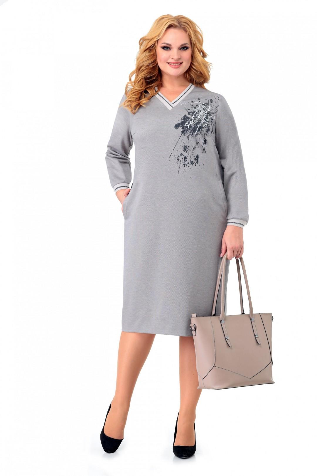 Платье МишельСтиль 996 серо-бежевый