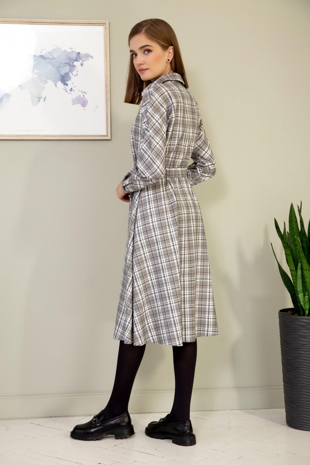 Платье ОЛЕГРАН 3812 беж+ клетка