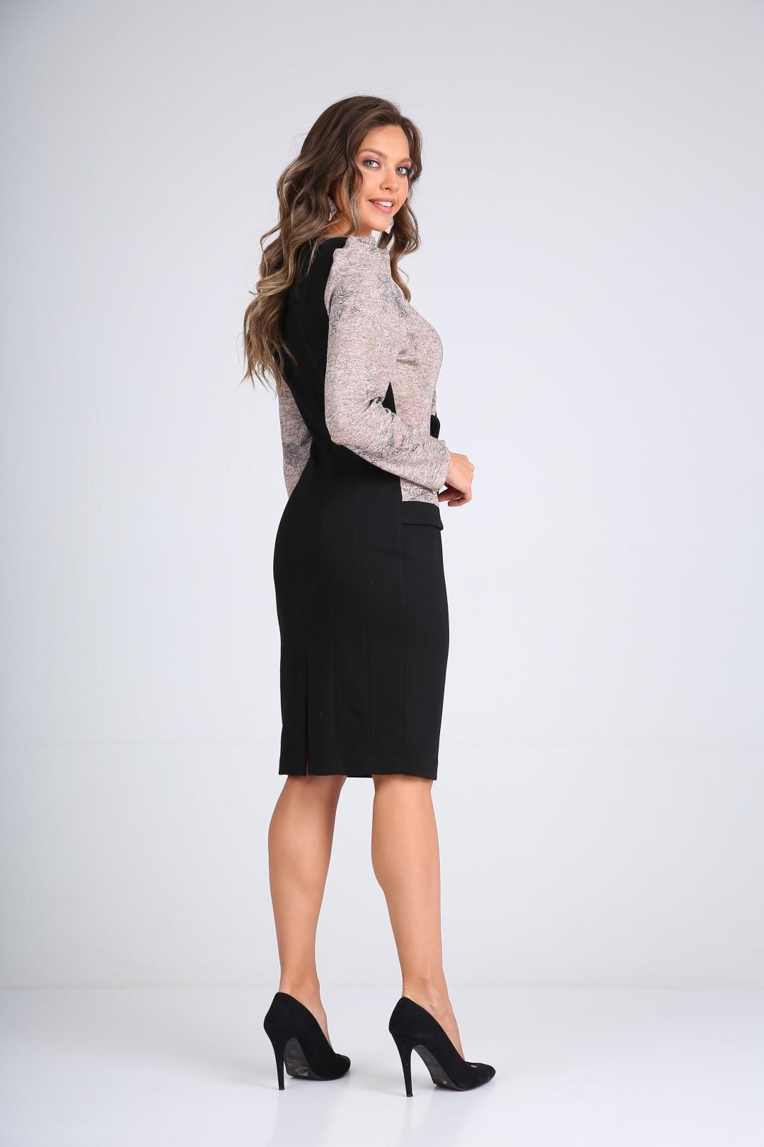 Платье SandyNa 130111 пудра+черный
