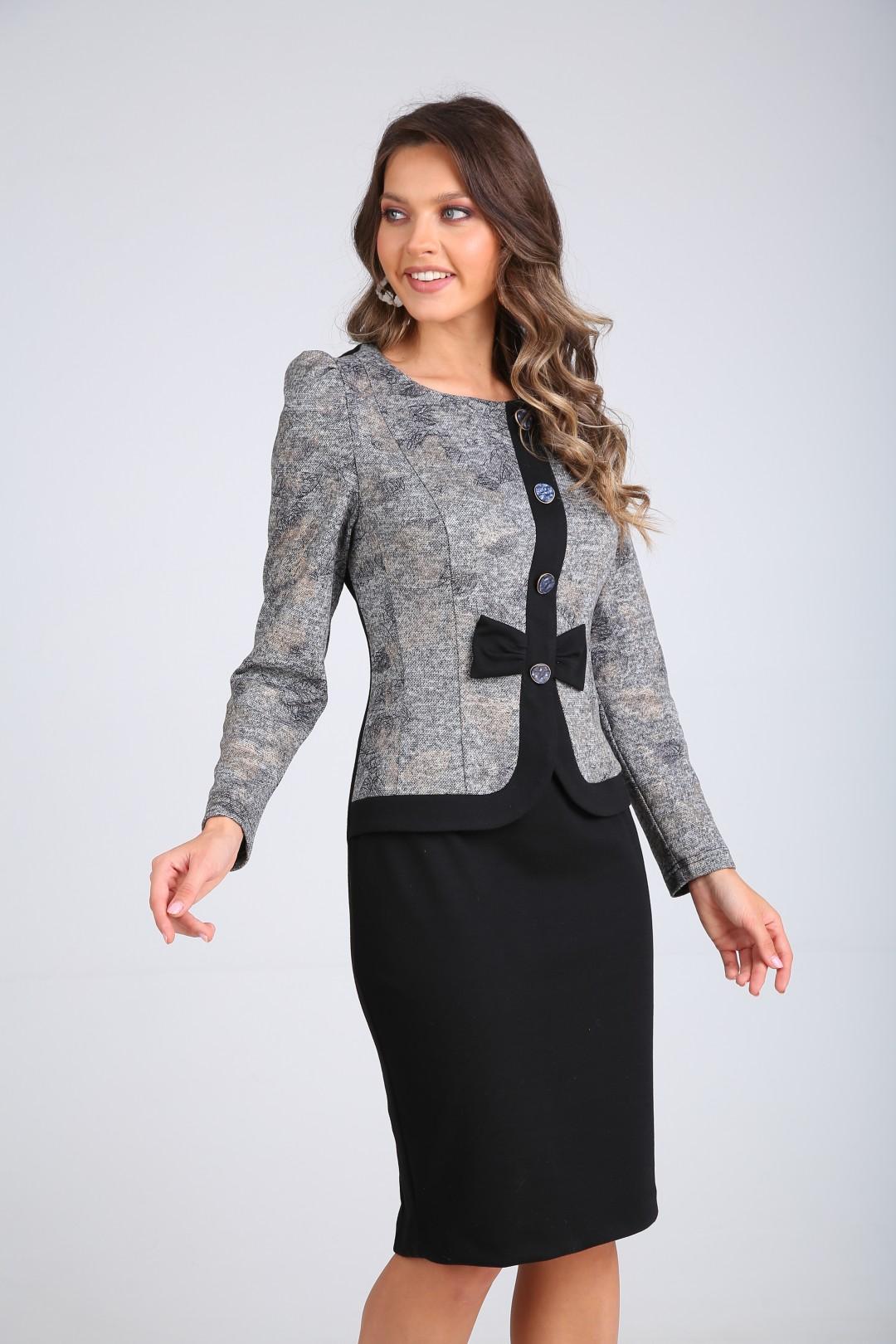 Платье SandyNa 130111 серый+черный