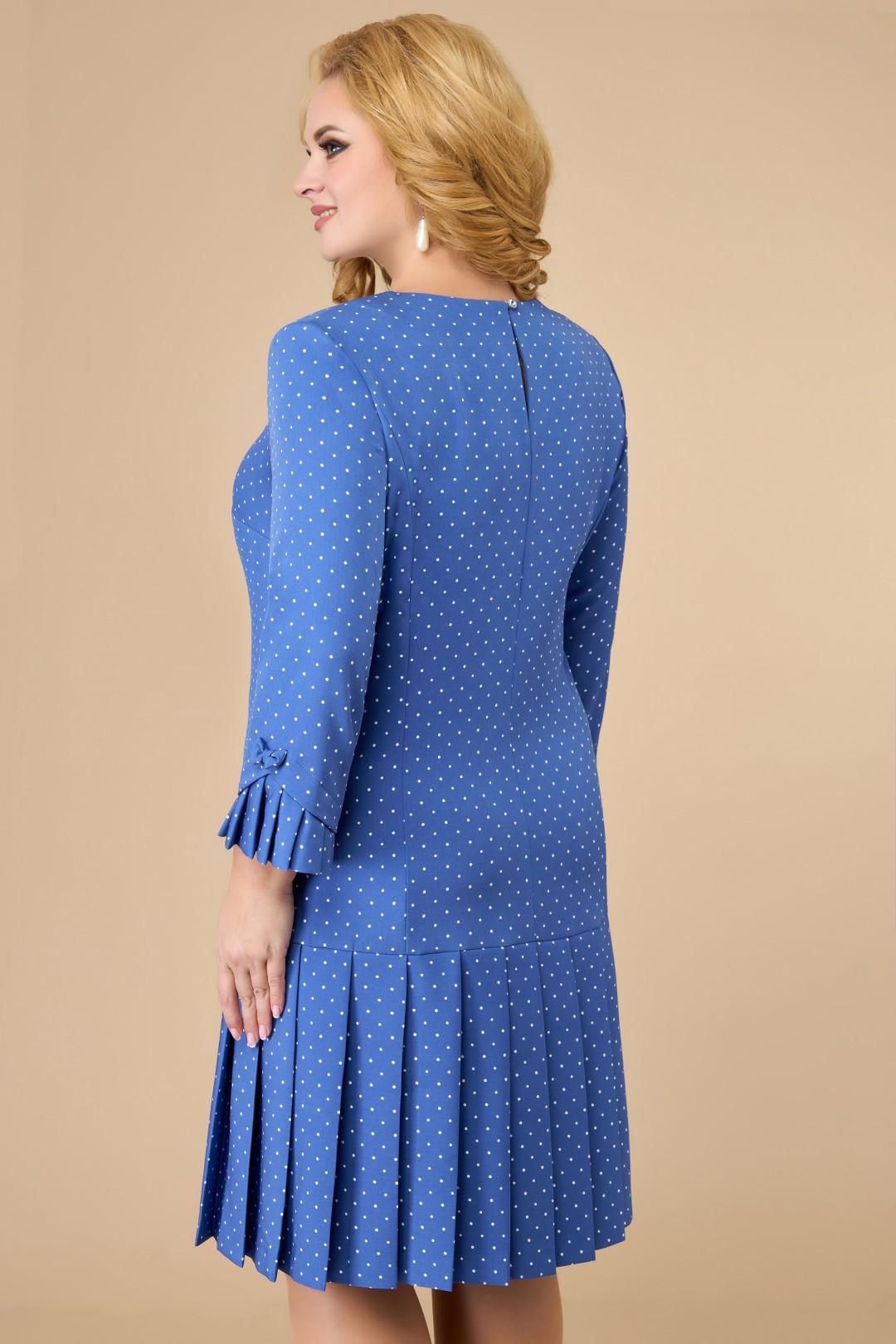 Платье Светлана-Стиль 1429.08 голубой+горох