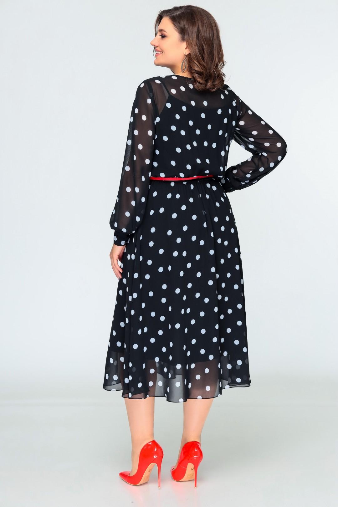 Платье Swallow 396 черный в белый горох
