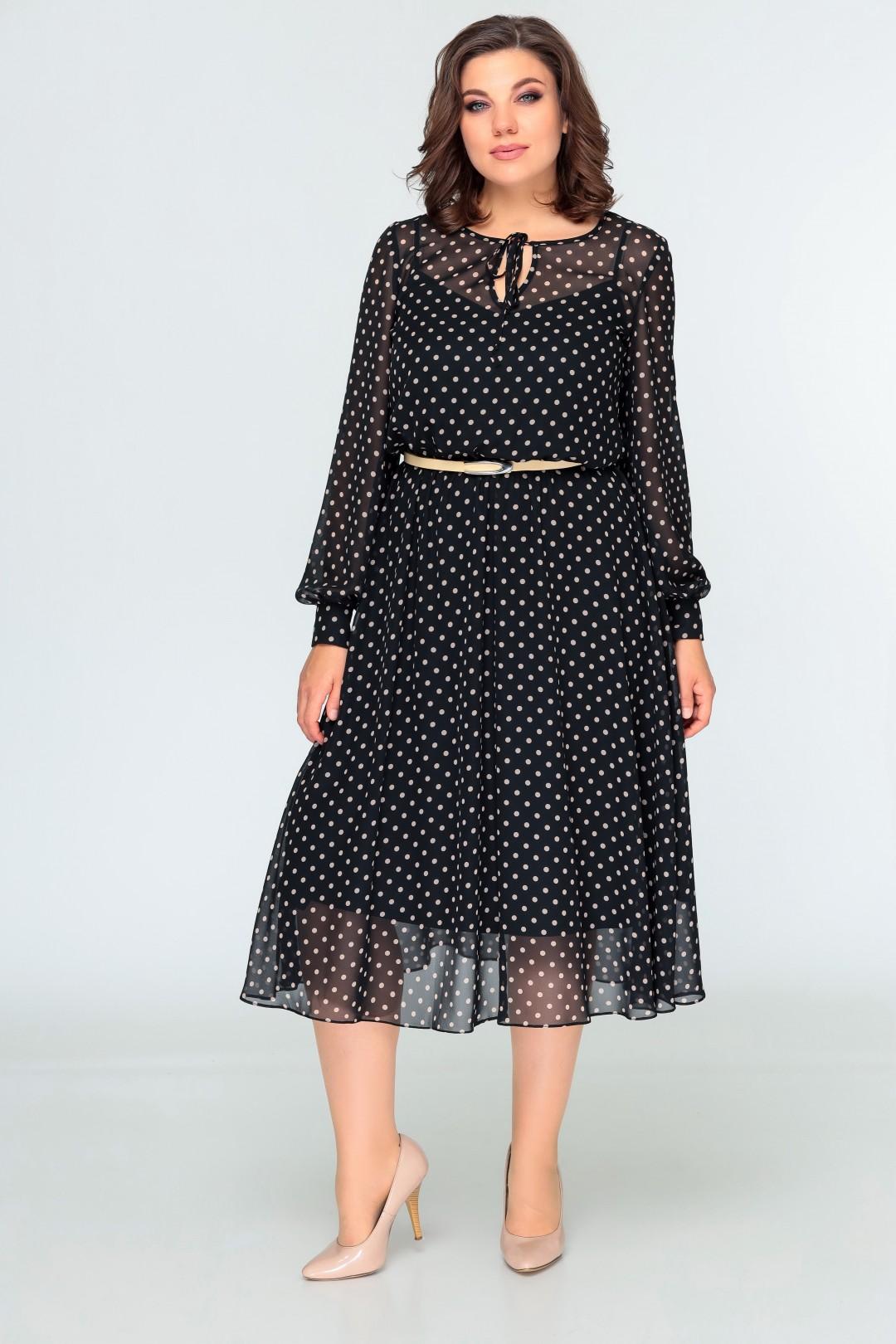 Платье Swallow 396 черный в бежевый горох