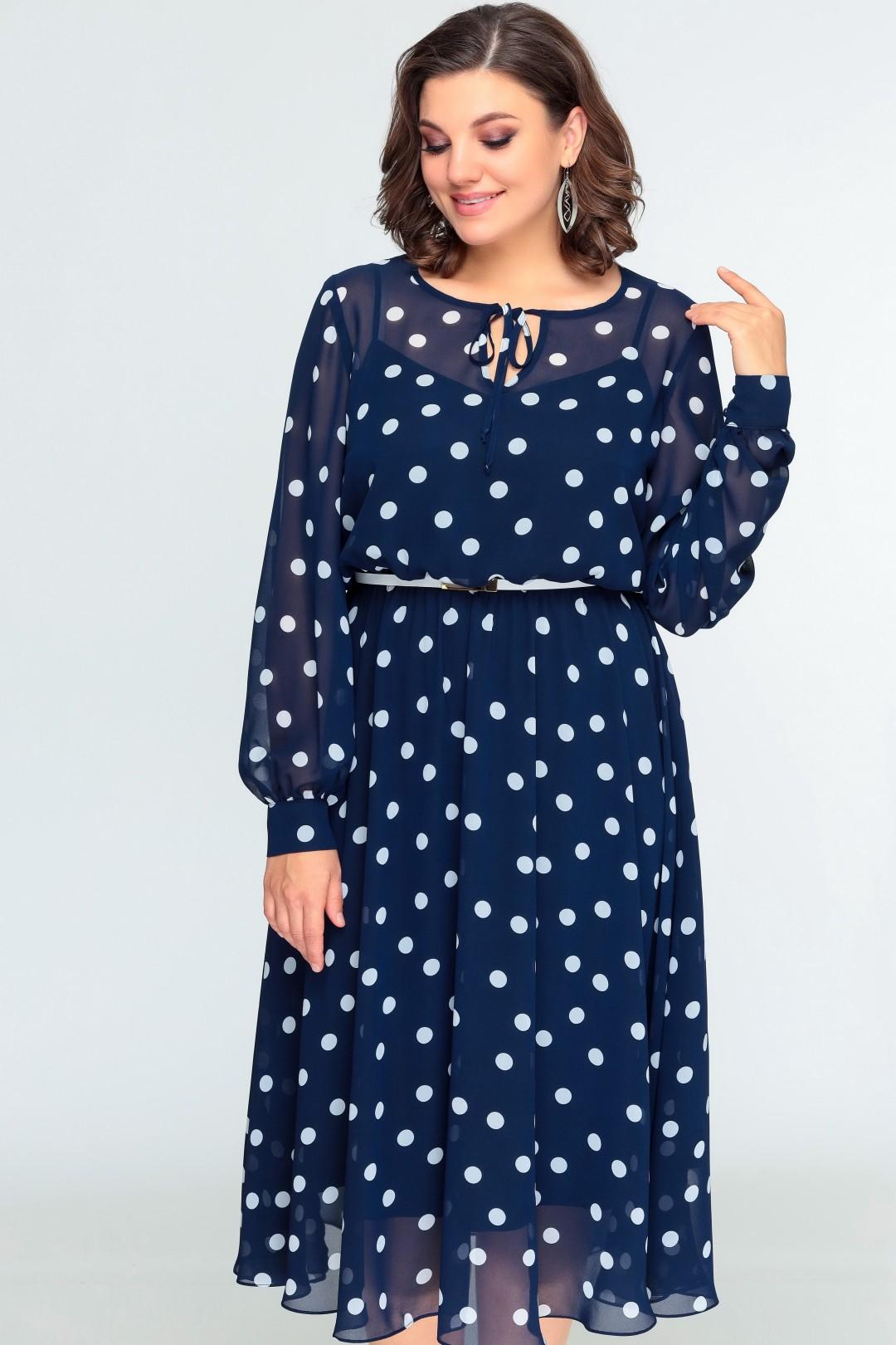 Платье Swallow 396 синий в белый горох