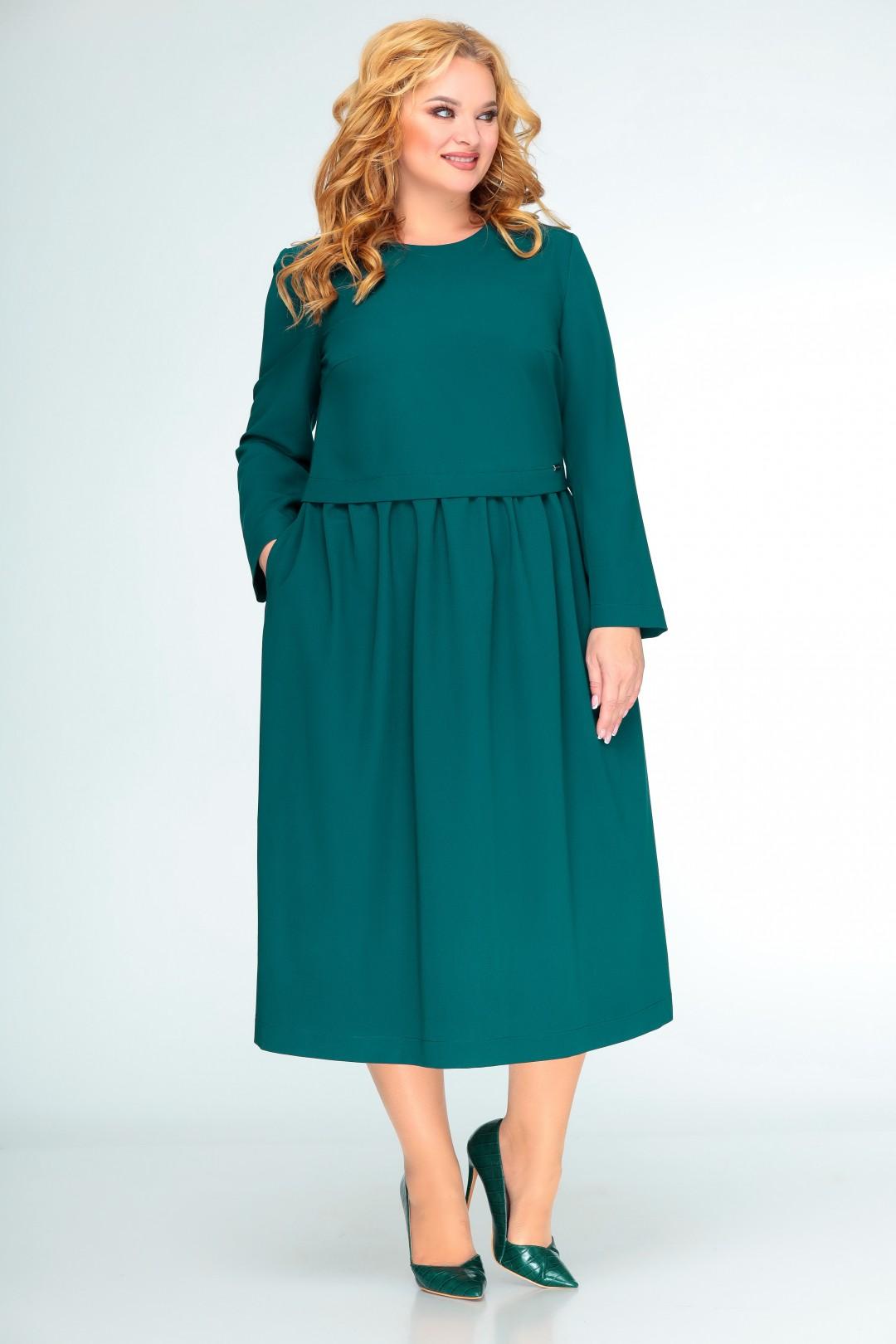 Платье Swallow 407 зеленый «бутылка»