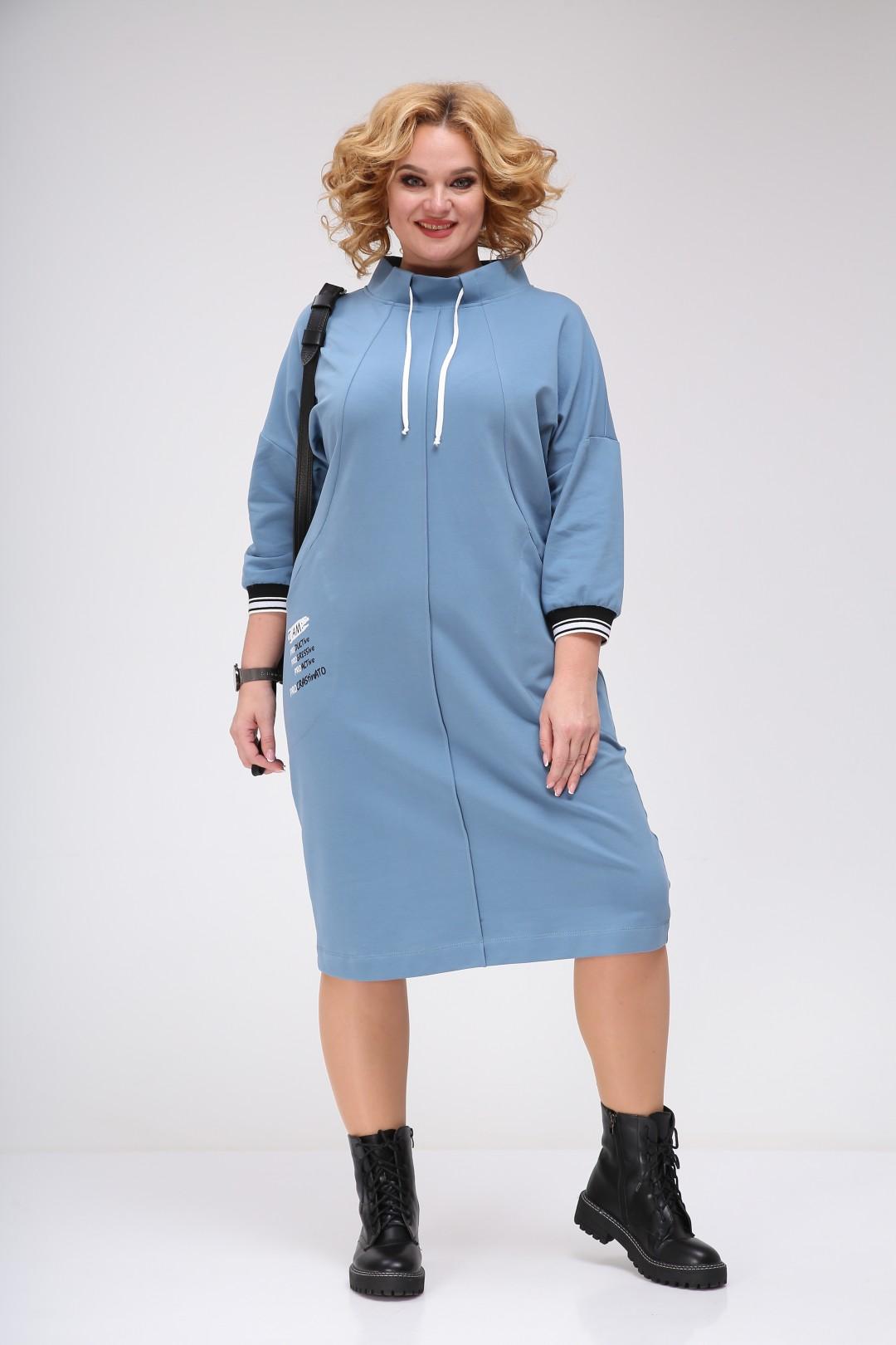 Платье Ивелта плюс ИВ-1758/1 голубой