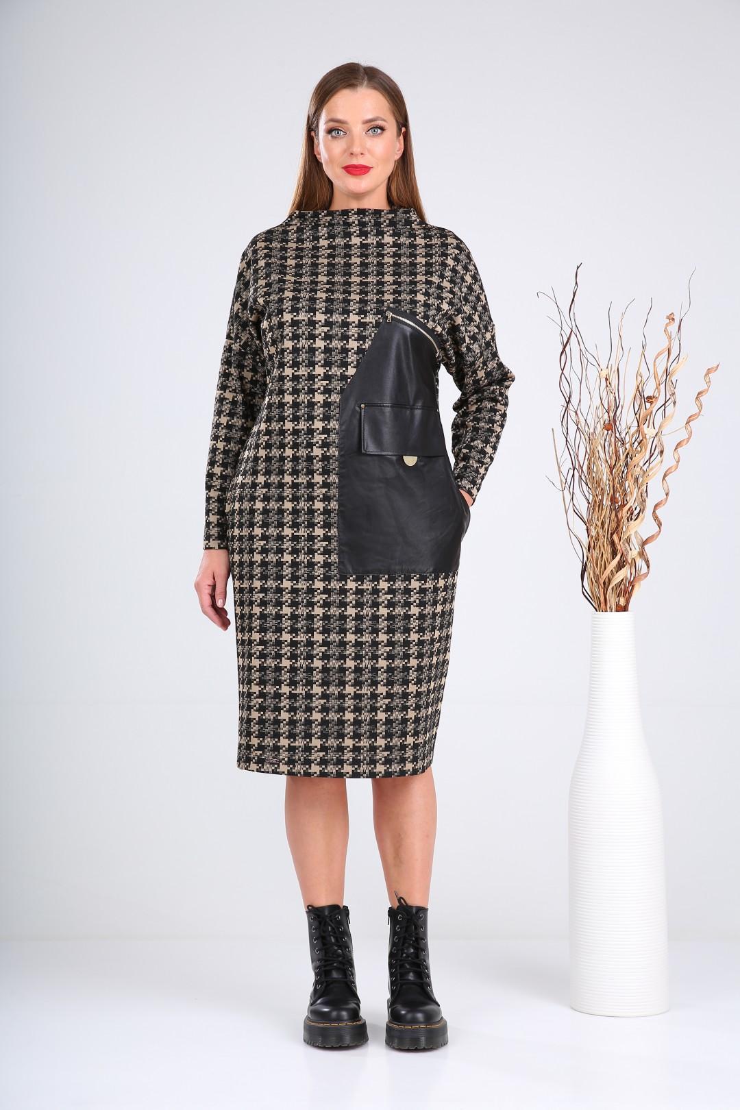 Платье Верита 2128 черный+бежевый