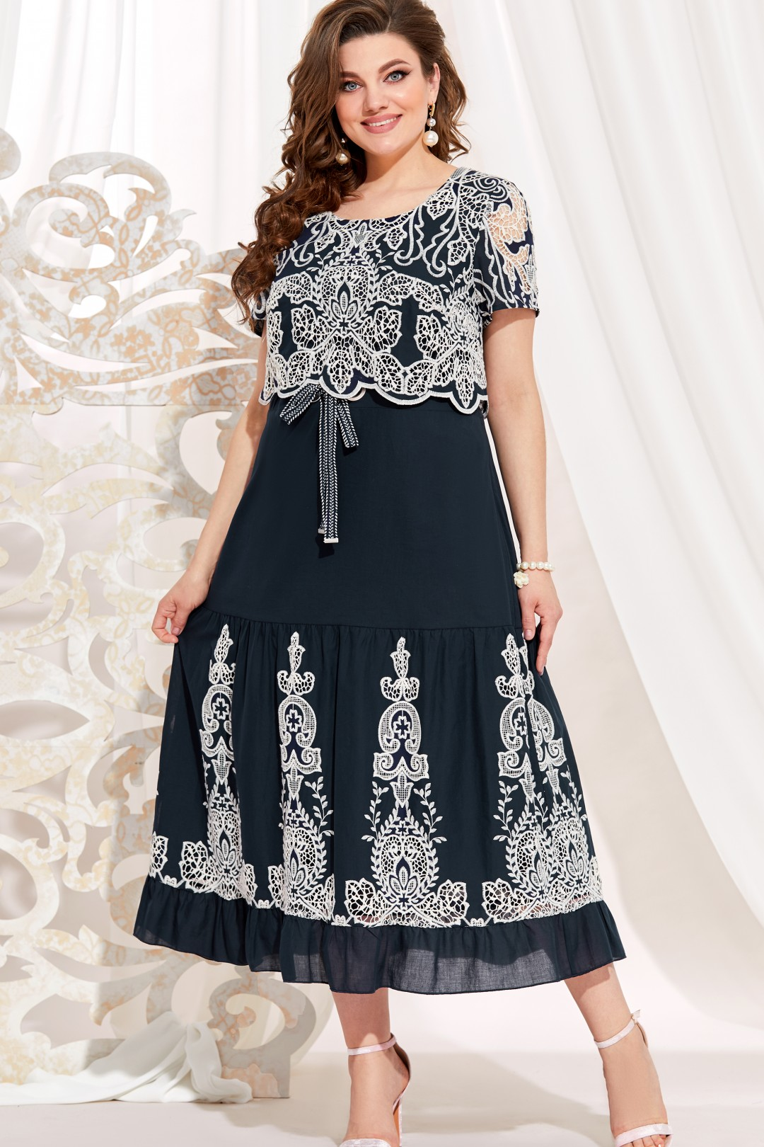 Платье Vittoria Queen 13843 т.синий/молочный