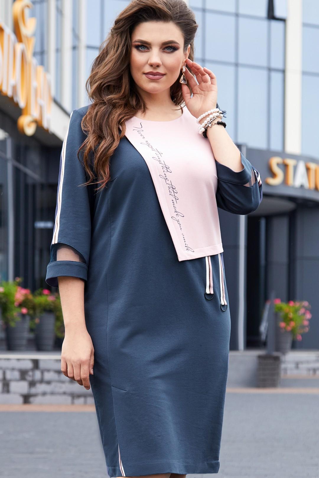 Платье Vittoria Queen 14513 темно-синий/розовый