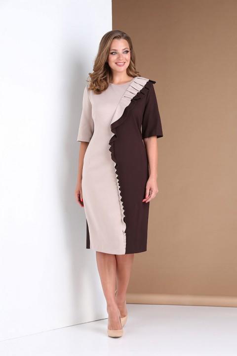 Платье AndreaStyle 0391 коричневый