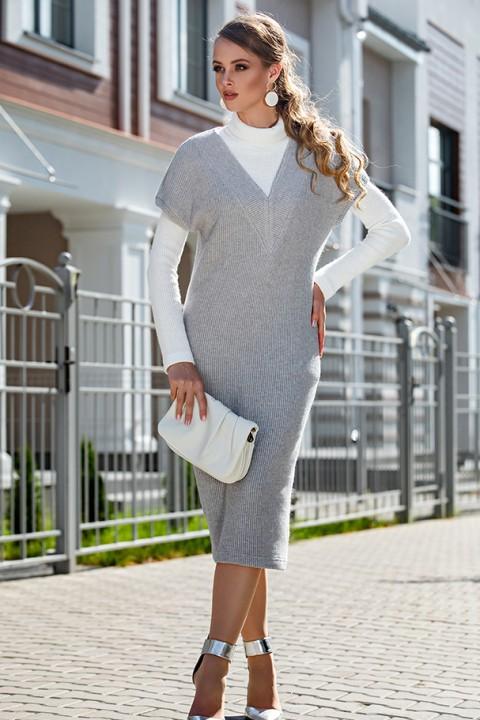 Костюм Дива 1313-3 серый+белый