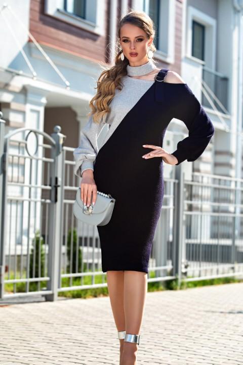 Платье Дива 1330-1 синий+серый