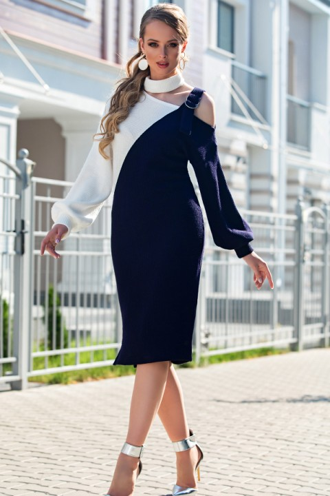 Платье Дива 1330 синий+белый