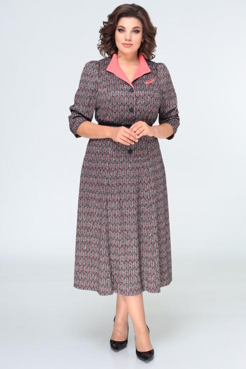 Платье ELVIRA 103 серо-коралловый