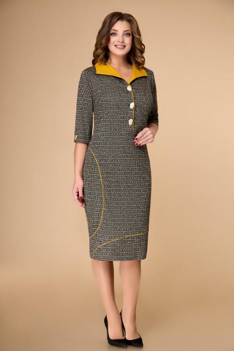 Платье ELVIRA 104 серо-горчичный