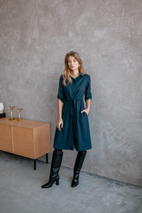 Платье KRASA 184-21 сине-зеленая гусиная лапка