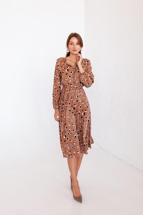 Платье KRASA 275-21  беж пятнышки