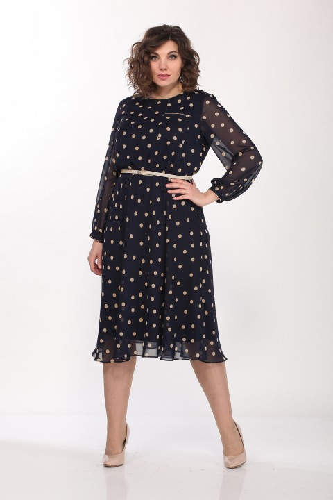 Платье LadyStyleClassic 2205/5 Темно-синий с бежевым
