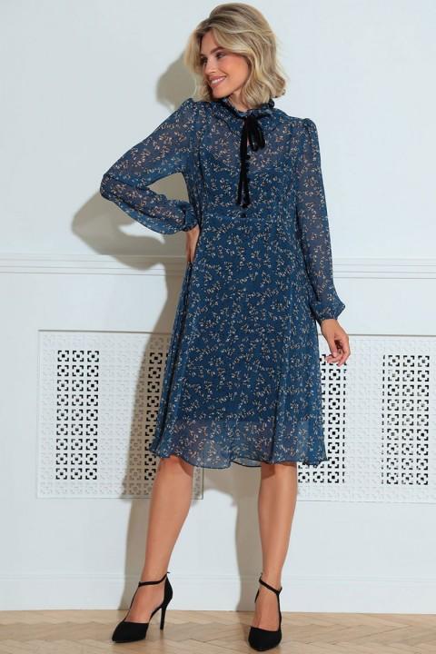 Платье LeNata 11216 синий в цветы