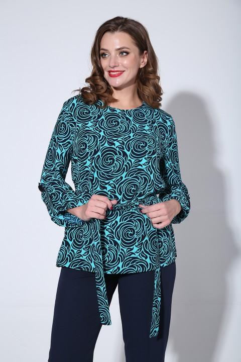 Блузка Лиона-Стиль 811Б бирюза синий