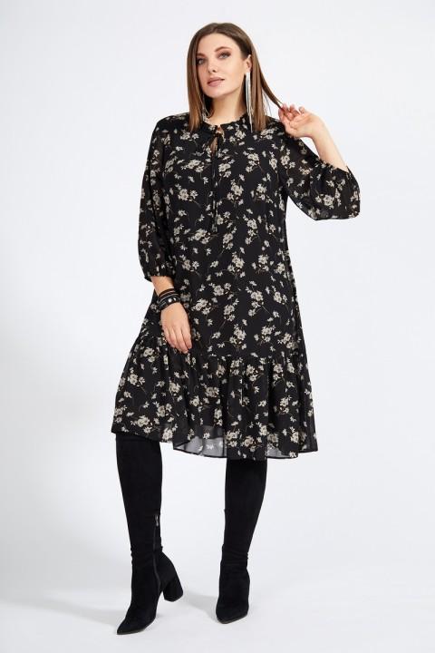Платье Милора Стиль 927 черное, цветы