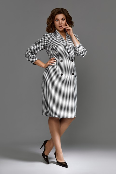 Платье Мублиз 602 черно-белая клетка