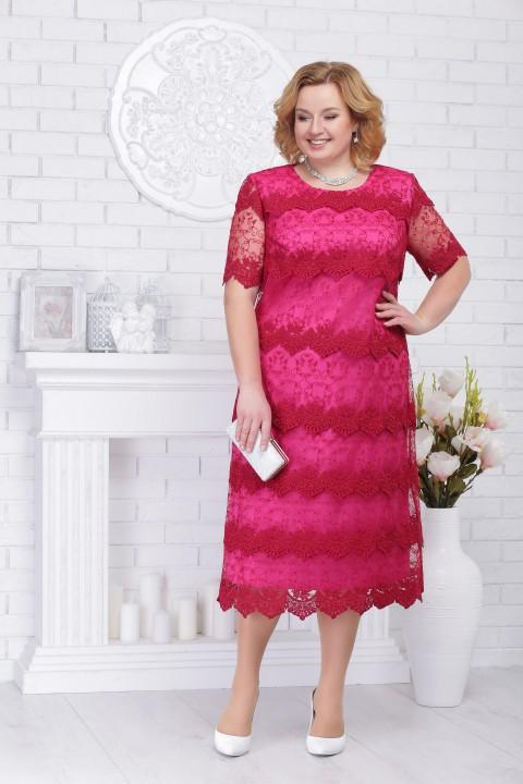 Платье Ninele 5697 винный+малина