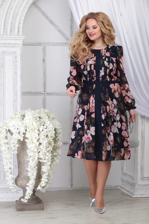 Платье Ninele 7313 синий+цветы