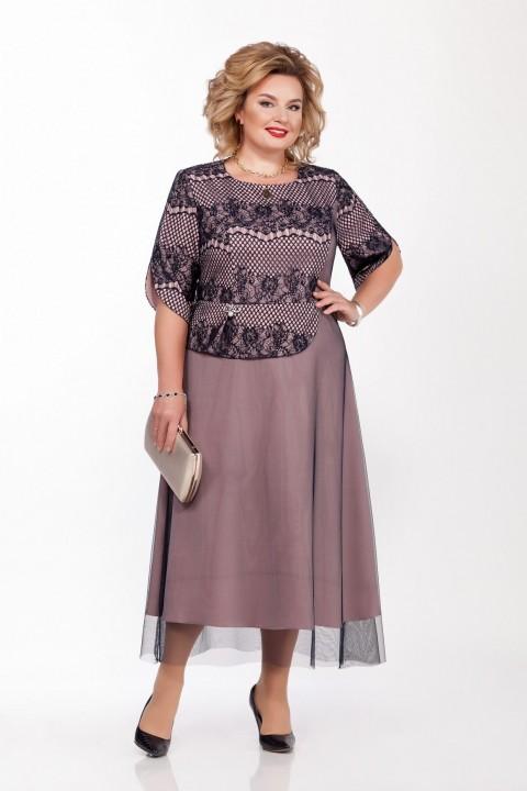 Платье Pretty 1166 пепельно-розовый и темно-синий