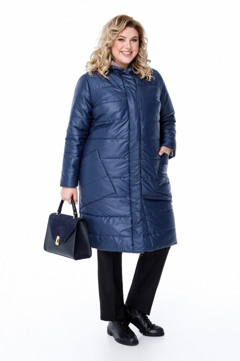 Пальто Pretty 1208 темно-синий и бежевый