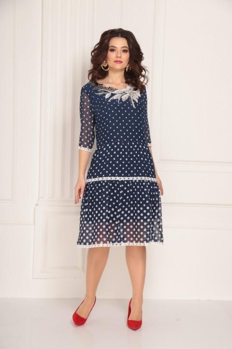 Платье Solomea Lux 693 синий в белый горох
