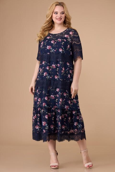 Платье Светлана-Стиль 1505 синий + флок