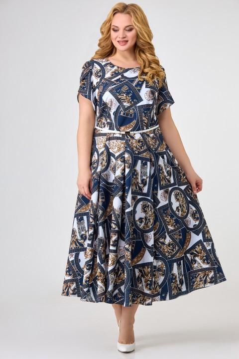 Платье Swallow 379 принт сине-белый