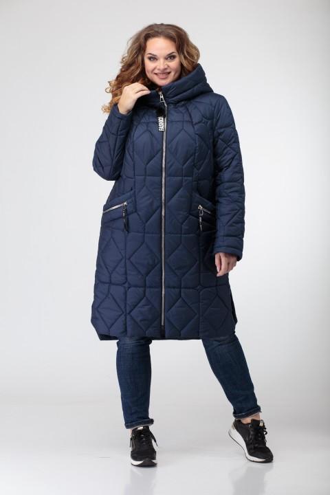 Пальто Трикотекс Стиль 3420 синий ромбы