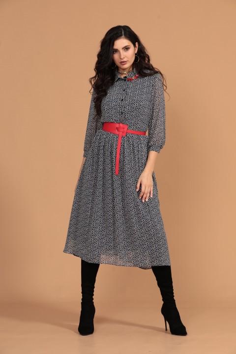 Платье Твой Имидж 1313 синий+белый